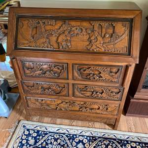 Lot # 120 - Beautifully hand carved desk with dresser drawers