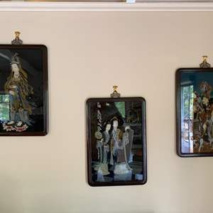 Lot # 122 - Set of three hand-painted artwork in black lacquer