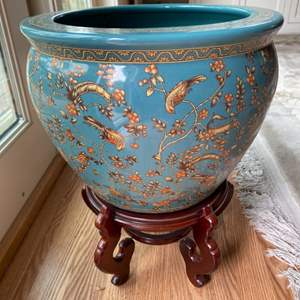 Lot # 131 - Large Chinese painted pot with wooden stand