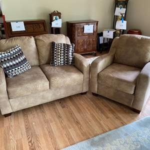 Lot # 133 - Ultra suede loveseat and matching chair