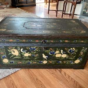 Lot # 134 - Antique Canton, China hand painted trunk with copper rivets and copper corner edging