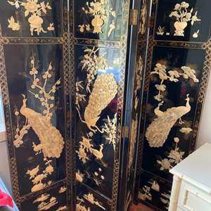 Lot # 194 - Black lacquer inlayed mother of pearl 4-panel 6' tall screen