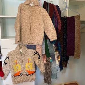Lot # 196 - Hand made wool sweaters, scarfs and silk hangers