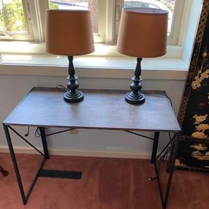 Lot # 197 - Modern desk with two lamps