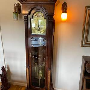 Lot # 210 - Charles Sleigh grandfather clock three weight eight day movement