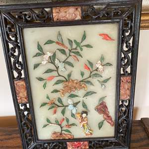 Lot # 211 - Vintage Asian wall art including a framed jade art piece with hand carved shade pieces