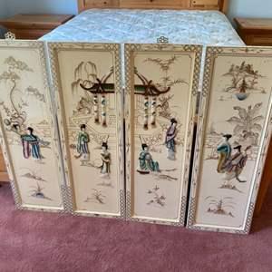 Lot # 274 - Rare Asian white lacquer art panels