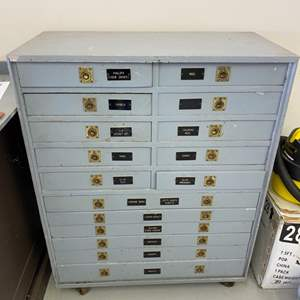 Lot # 283 - Wooden tool cabinet with contents