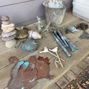 Lot # 330 - Copper & ceramic yard art