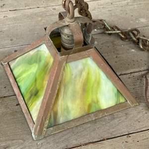 Lot # 333 - Copper & Glass A+C hanging light