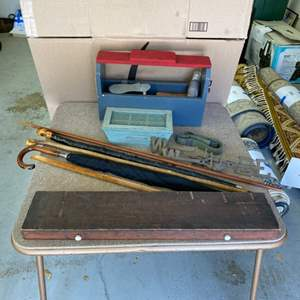Lot # 353 - Vintage canes, shoe shine/repair kit and other miscellaneous items