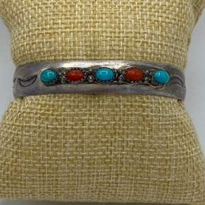 Lot # 4 - Sterling cuff with turquoise and red coral (20.6g)