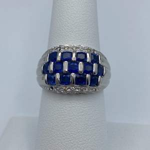 Lot # 10 - Platinum Ring, 2.79 ctw Sapphires, .11ctw diamonds, size 7