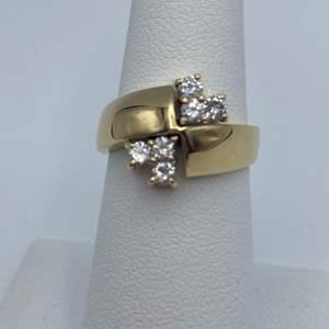 Lot # 12 -14k Yellow gold ring, .42ctw diamonds, size 6.25
