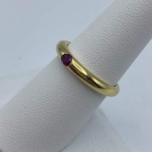 Lot # 20 - Ruby .23ct ring, 18k gold, size 7.75