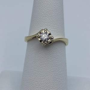Lot # 23 - 1/5C diamond solitaire, 14k gold ring, size 6.75