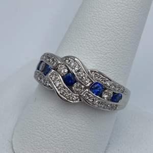 Lot # 24 -Platinum ring, .67ctw sapphire, .57ctw diamond, size 10.25