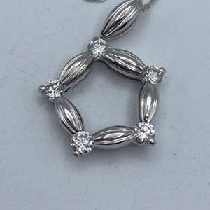 """Lot # 27 - 18k White gold necklace and pendant with .40ctw diamonds, 18"""""""