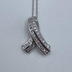 """Lot # 32 - platinum necklace and pendant with .50ctw diamond 18"""""""
