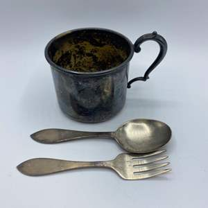 Lot # 45 - Sterling Baby cup spoon and fork (71g)