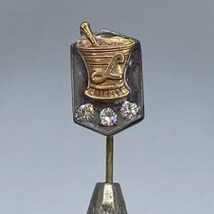 Lot # 56 - Sterling, 14k gold stick pin with 3 diamonds