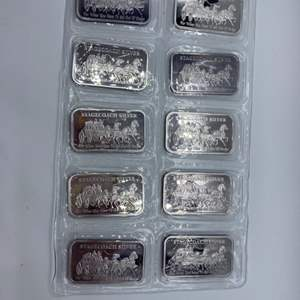 Lot # 62 - 10, Stagecoach .999 silver divisible 1 oz. bars(1 sheet of 10)