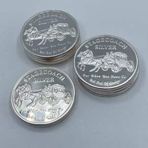 Lot # 66 - 10, Stagecoach .999 silver divisible 1 oz. rounds