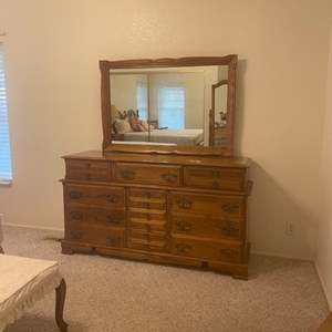 Lot # 1 - Solid Maple Dresser and Mirror