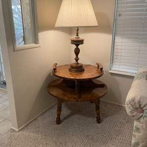 Lot # 8 -  Vintage Colonial Style Two Tier Round Table & Lamp