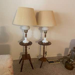 Lot # 15 - Vintage Hobnail Milk Glass Lamps with Wooden Stands