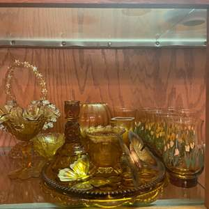 Lot # 17 - Vintage Amber Glass/ Fenton Amber Candy Dish