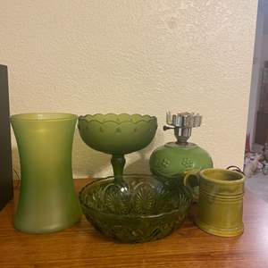 Lot # 19 - Vintage Green Glass