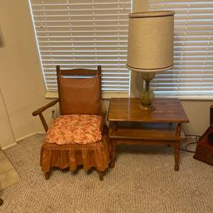 Lot # 20 -  Vintage Chair, Table and Lamp