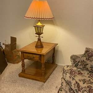 Lot # 25 - Cal. Shop Vintage End Table with Vintage Lamp