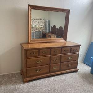 Lot # 30 - Solid Wood Dresser and Mirror