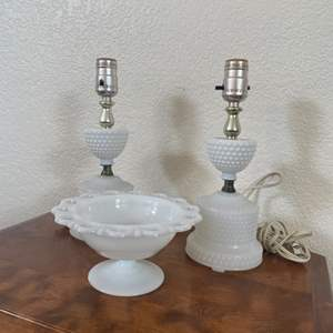 Lot # 33 - Matching Lamps and Milk Glass Candy Bowl