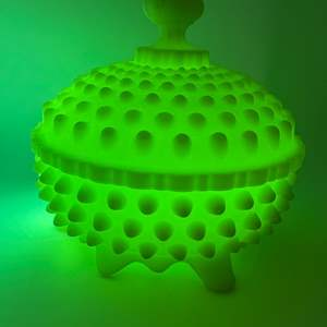 "Lot # 49 -  Uranium Fenton Hobnail Vaseline Candy Dish & Hand painted FENTON ""Rose Burmes"" bowl"