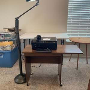 Lot # 50 - HP Photosmart Printer/ Roll drop leaf desk/ standing lamp