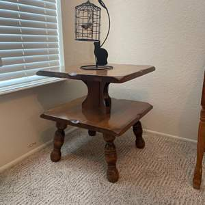 Lot # 53 - Vintage Solid Wood End Table with Metal Decoration