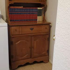 Lot # 56 - Hutch with Vintage Encyclopedias