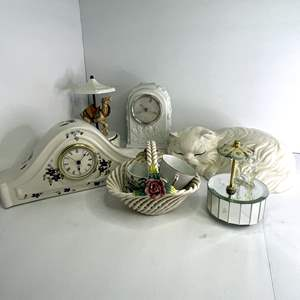 Lot # 7 - Assorted Ceramic Clocks, Figures, Tea Cups and Music Boxes