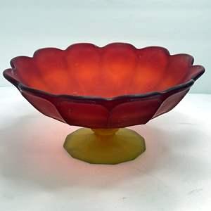 Lot # 13 - Vintage Footed Glass Flower Bloom Bowl