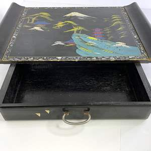 Lot # 15 - Mid Century Black lacquer Music Box/tray (working)