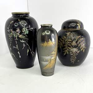 Lot # 17 - Ornate Abalone Inlaid Metal and Porcelain Ginger Jars and Fan