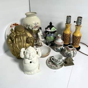 Lot # 18 - Japanese and Chinese Figurines, Carved Lamps, Vases and Dishes