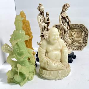 Lot # 19 - Asian Statues, Candles, Carved Tray