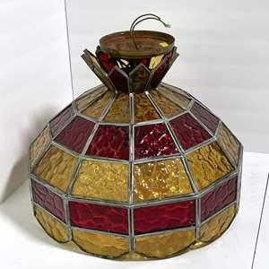 Lot # 22 - Vintage Slag Glass Hanging Lamp
