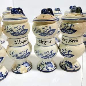 Lot # 30 - Vintage Spice Jars Set, Blue Onion Pattern