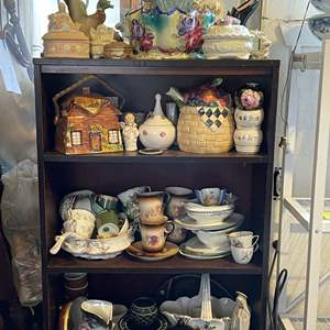 Lot # 39 - Bookcase With Assorted Ceramic Dishes, Art and Kitchenware