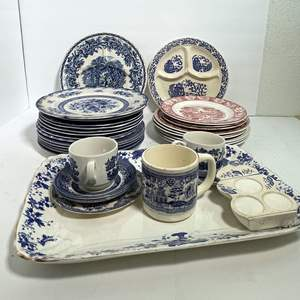 Lot # 44 - Blue Willow and Red Transferware